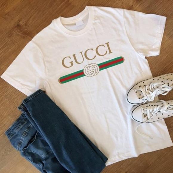9e64951b0c82a8 Gucci Etsy Tops - White Gucci Tee